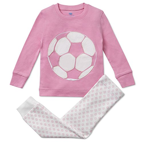 Bluenido Girls Pajamas Pink Soccer 2 Piece 100% Super Soft Cotton (12m-8y)