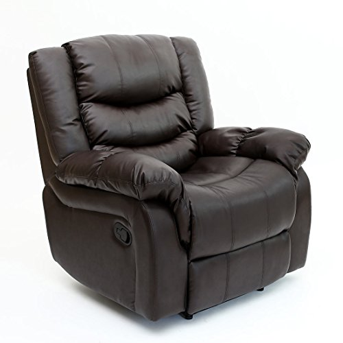 3 SEATTLE BONDED LEATHER RECLINER ARMCHAIR SOFA HOME LOUNGE CHAIR RECLINING  GAMING (Brown)
