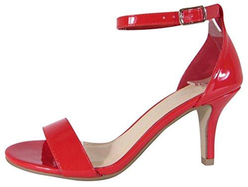 Cambridge Väljer Kvinnor Öppen Tå Enda Band Buck Fotled Strappy Mitten Klack Sandal Röd Patentet