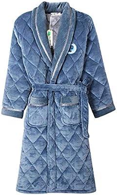 Lhlxs Albornoz de baño para Hombre de túnica de Terciopelo de algodón Acolchado + Homme Albornoz Caliente Batas Pijamas Hombre,Azul,XXL: Amazon.es: Deportes y aire libre