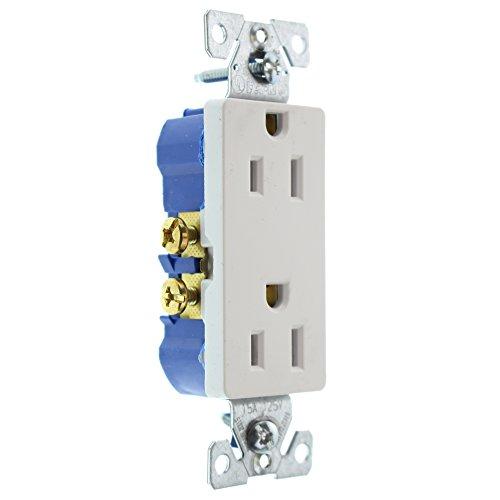 (Hubbell RRD15WZ Duplex Decorator Receptacle Outlet, Non-TR, 15-Amp, 120-Volt,)