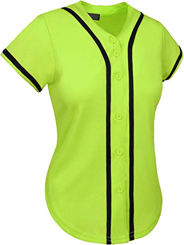 Lime Green Jersey - Hat and Beyond Womens Baseball Button Down Athletic Tee Short Sleeve Softball Jersey Active Plain Sport T Shirt (X-Large, 3up01 Lime Green/Black)