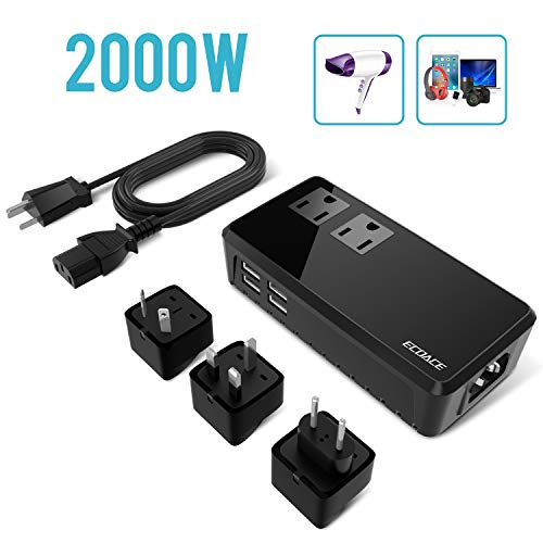(2019 Upgraded) ECOACE 2000W Travel Voltage Converter 220V to 110V, 4-USB Port,Step Down Power Converter for Hair Dryers/Hair Straightener,US to UK/AU//EU Adapters for 170+Countries