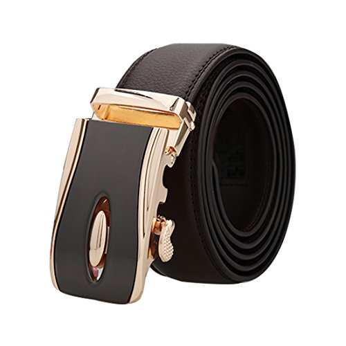 uxcell Men Automatic Ratchet Leather Belt Double Stitch Edge Wide 1 1/2 Dark Brown - Automatic Double Edge