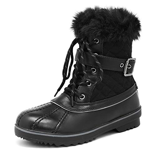 DREAM PAIRS Women's River_3 Black Mid Calf Winter Snow Boots Size 8 M ()