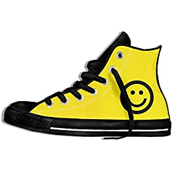 NAFQ Smile Face Classic Canvas Sneakers Shoes Lace Up Unisex High Top