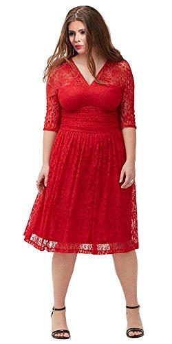 Minifaceminigirl Women Cocktail Plus Size Lace V Neck Evening Formal Swing Dress (Cheap Fancy Dress Plus Size)