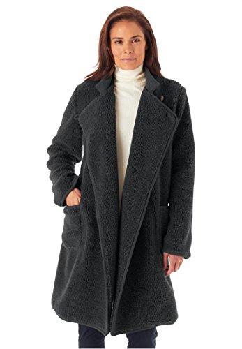 Women's Plus Size Berber Rib Jacket Charcoal,4X