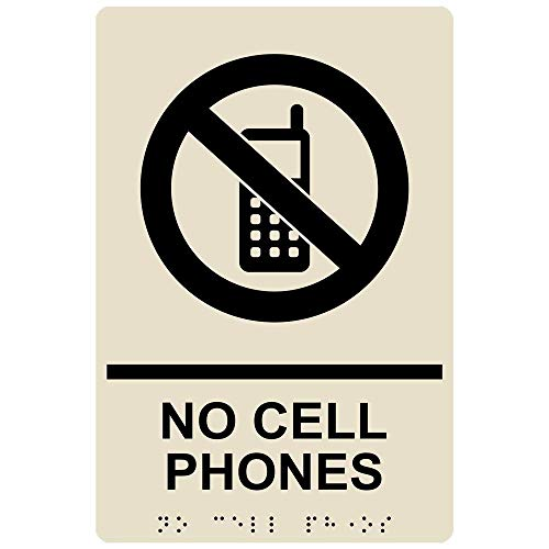 No Cell Phones Sign, ADA-Compliant Braille and Raised Letters, 9x6 in. Almond Acrylic Plastic with Adhesive Mounting Strips by ComplianceSigns