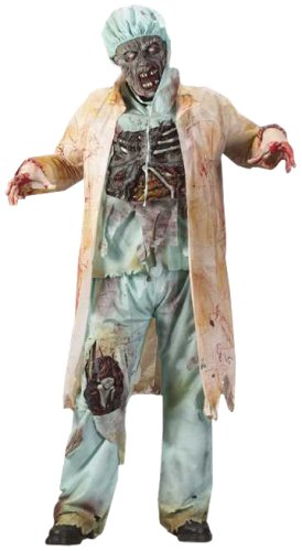 FunWorld Men's  Zombie Doctor, Light Green, One Size Costume -
