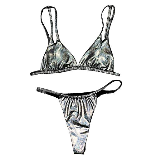 YAUASOPA Women's Solid Color String Thong Bikini Tie Knot Front Side Bikini Adjustable Skimpy Set 2 Piece Swimsuit (M(US4-6), Silver)