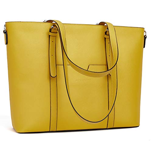 BOSTANTEN Women Leather Laptop Tote Office Shoulder Handbag Vintage Briefcase 15.6 inch Computer Work Purse Yellow