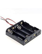 DollaTek 4 x AA 6 V batterihållare fodral låda trådbunden på/av strömbrytare och lock
