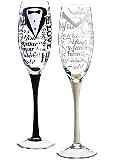 Amazon mr and mrs champagne glasses for bride and groom bride and groom wedding champagne toasting flute glasses solutioingenieria Choice Image