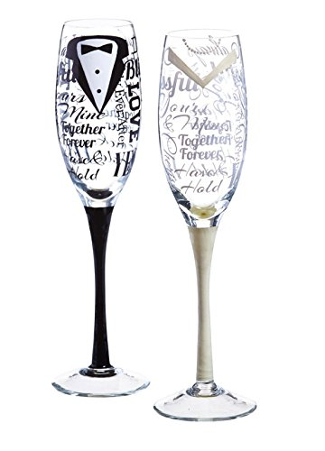 Hand Painted Bride Groom Champagne Flutes product image
