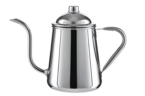 Pour Over Drip Kettle Stainless Steel With Precision Gooseneck spout for amazing water flow control. Ideal for pour over coffee and tea - 0.9L capacity