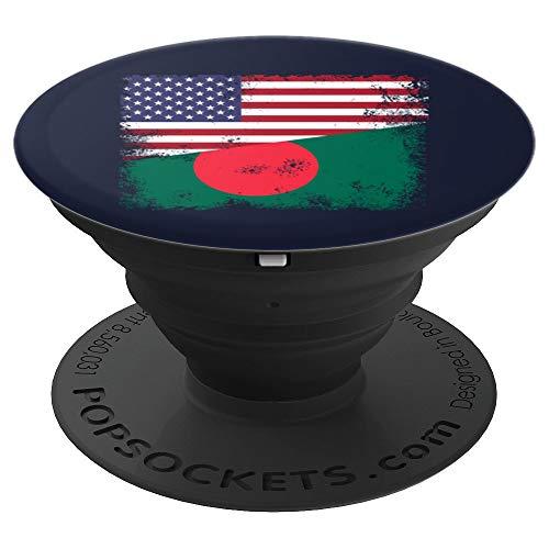 Half Bangladeshi Flag Design | Vintage Bangladesh USA Gift - PopSockets Grip and Stand for Phones and Tablets