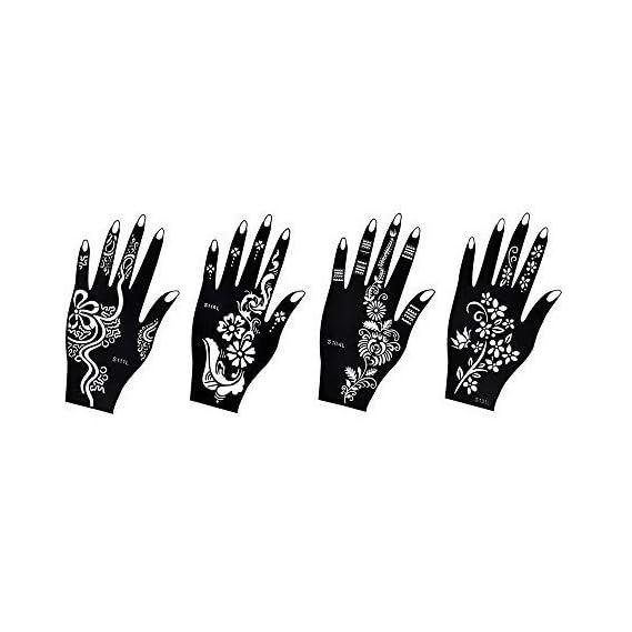Ivana's 4 Pieces India Henna Tattoo Stencil Set for Women Girls Hand Finger Body Paint Temporary Tattoo