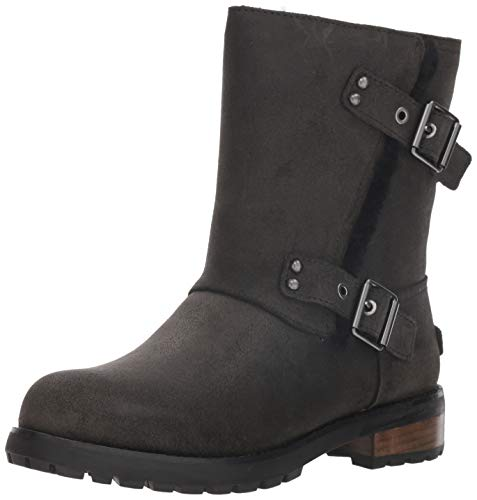 UGG Women's W Niels II Fashion Boot, Black, 8 M US (Women Ugg Leather Boots)