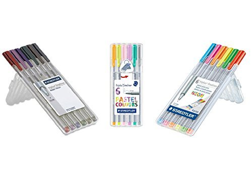 Staedtler Triplus Fineliner Pens 18-Color Pastel, Neon and Nature Color Pen Set