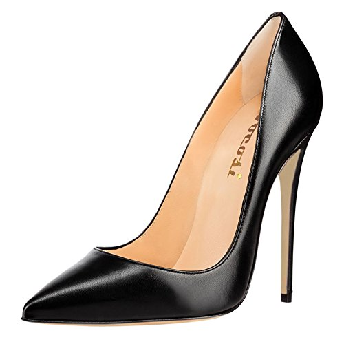 VOCOSI Women's Sexy Point Toe High Heels,Patent Leather Pumps,Wedding Dress Shoes,Cute Evening Stilettos Matte-Black 8.5 US
