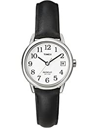 Timex T2H331 Women's Easy Reader White Dial Black Leather Strap Stainless Steel Watch