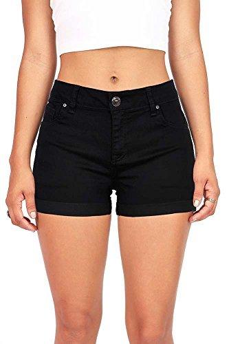 Wax Women's Juniors Perfect Fit Mid-Rise Denim Shorts 90026,Black M ()
