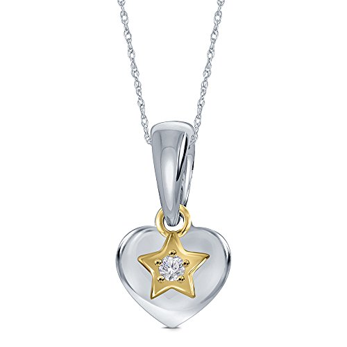 La Joya 0.02ct Round White Diamond 14K Yellow Gold Plated 925 Sterling Silver Heart Star Tiny Charm Pendant Kids Baby Girl Children Jewelry - Baby Diamond Heart Pendant