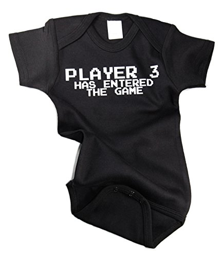 Player 3 Has Entered The Game Awesome Funny Baby Bodysuit One Piece Creeper Black w/ White (0-3 months)