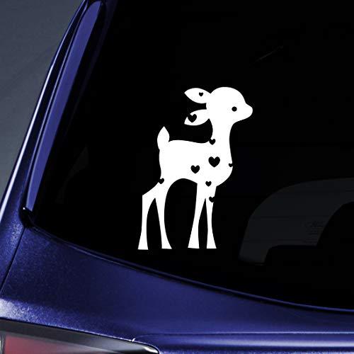 Hearts Fawn Deer Sticker Decal Notebook Car Laptop 5.5