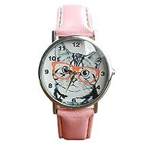 yijiamaoyiyouxia Cat Pattern Leather Band Analog Quartz Vogue Wrist Watch