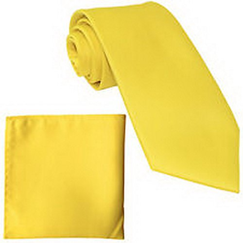 jacob alex #45551 Polyester Mens Neck Tie and hankie solid formal wedding prom uniform yellow