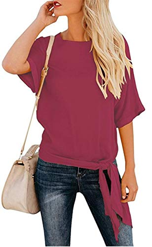 - OURS Women's Casual Half Sleeve Knot Tie Front Loose Fit Top Tee T Shirt Blouses Red