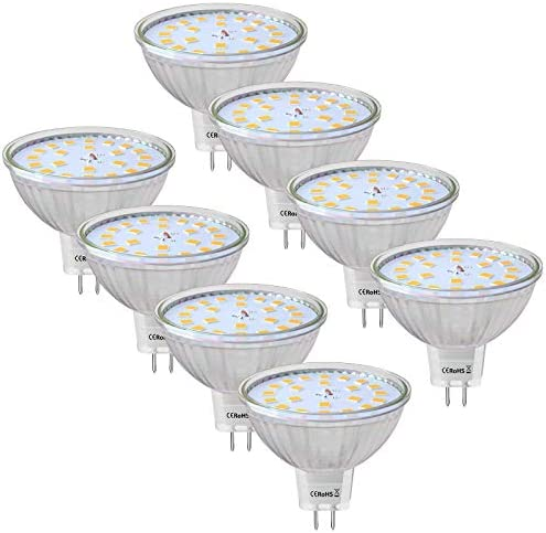 8-Pack MR16 LED Bulbs, 5W GU5.3 LED Light Bulbs, 50W Halogen Equivalent, 2700K Warm White, 12V, 500LM, 120° Beam Angle Spotlight Bulbs MR16 LED, Non-Dimmable [Energy Class A+]