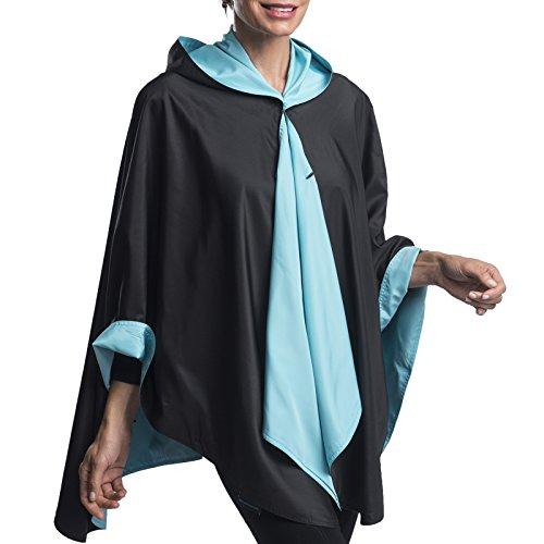 Reversible Colour - RainCaper Hooded Rain Poncho for Women - Rainproof Ultrasoft Reversible Fashion Colors (Black & Sky Blue)