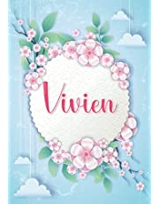 Vivien: Notebook A5 | Personalized name Vivien | Birthday gift for women, girl, mom, sister, daughter ... | Design : hanging clouds | 120 lined pages journal, small size A5 (ca. 6 x 9 inches)