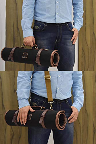Leather Knife Roll Storage Bag | Elastic and Expandable 10 Pockets | Adjustable/Detachable Shoulder Strap | Travel-Friendly Chef Knife Case Roll By Aaron Leather (Raven, Canvas) by AARON LEATHER GOODS VENDIMIA ESTILO (Image #6)