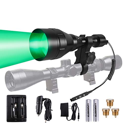 LUMENSHOOTER A9P 650 Yards Long Range Green Red White Infrared 850nm IR Dimmable Hunting Kit Scope Rifle Mounted Kill Light Predator Night Torch Zoomable Flashlight for Coon Coyote Hog Fox Varmint