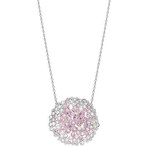 - Swarovski Cherie 5111318 Pink Crystals Flowers Rhodium Plated Pendant Necklace