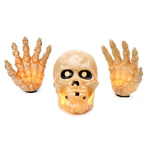 Skull and Hands Lighted Set Halloween Yard Decoration]()