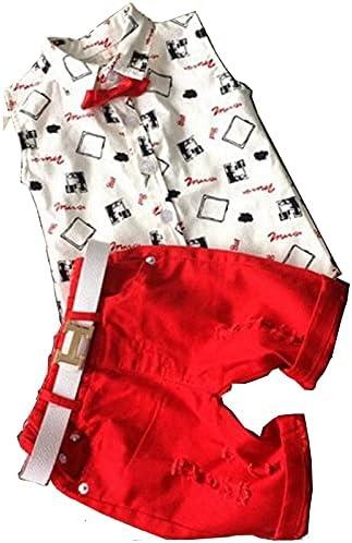 SUTON Boys Summer Short Sleeve T-Shirt + Shorts + Belt Casual 3pieces Clothing Set 2-6T Whitered