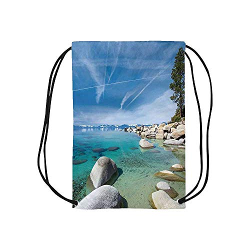 Lake Personalized Drawstring Bag,Aerial View of A Tropic Lake Phenomenal Universe Innate Disposition of World Art Photo for School Shopping,One_Size