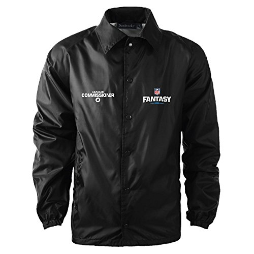 NFL Fantasy Football Commissioner Coaches Windbreaker, X-Large, Black