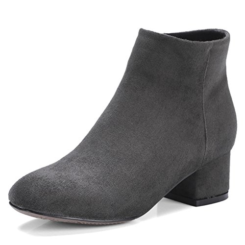 Dark QZUnique Thick Zipper Gray Ankle Boots Booties Round Low Martin Toe Women Square Heel 6z76Zqr