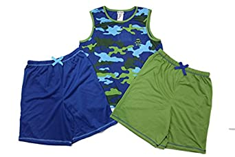 Amazon.com: St. Eve Boys 3 pc Blue/Green Camo and Skull Sleepwear ...