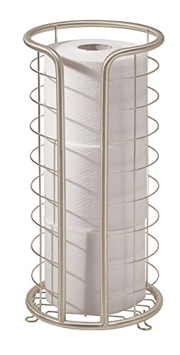 Paper Toilet Hideaway Roll (mDesign Modern Wire Metal Free Standing Toilet Tissue Paper Holder Stand Organizer for Storage Organizing for 3 Extra Rolls in Bathroom - Satin)