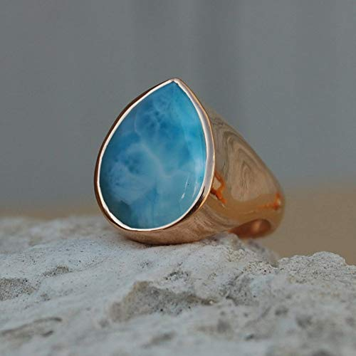 Larimar Ring, Pear Cab Dominican Larimar 925 Sterling Silver Ring, Rose Gold Plating Ring, Handmade Ring, Mens Gemstone Ring, Father's Day Gift Ring