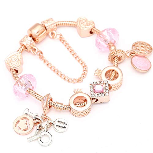 Lishfun New Heart & Key Pendant Rose Gold Color Fine Bracelets & Bangles Ferris Wheel Beads Charm Bracelet for Women Jewelry,009,17cm ()