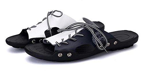 Gleitschutz toe Hausschuhe Blau 39 Weiß Strand Herren Leder Casual Open White Blue Thick Schwarz Boutique Schuhe Bottom 5z1nqwUBxE