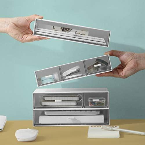 Desktop Student Briefpapier Büro Verschiedene Schublade Kosmetik (Empfangsbox) Glacier Blue Dreischichten DIY (6-Raster)